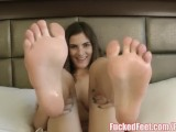 Molly Jane Oils Up Feet To Give Amazing Footjob @ FuckedFeet!