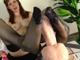 Footjob By Irina Vega In Black Stockings