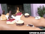 True And Unique CFNM Video With A Naked Guy Serving Ladies As A Cake Tray