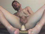 Stoned Teen Rides 9inch Dildo