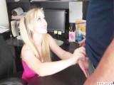 Blonde Cutie Gives A Mature Man A Handjob