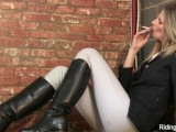 Stable Girl Rebecca Smokes And Strips